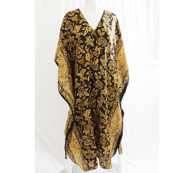 Winlar Dresses & Skirts - Winlar Kaftan Caftan Gold Black Cover Up Dress OS
